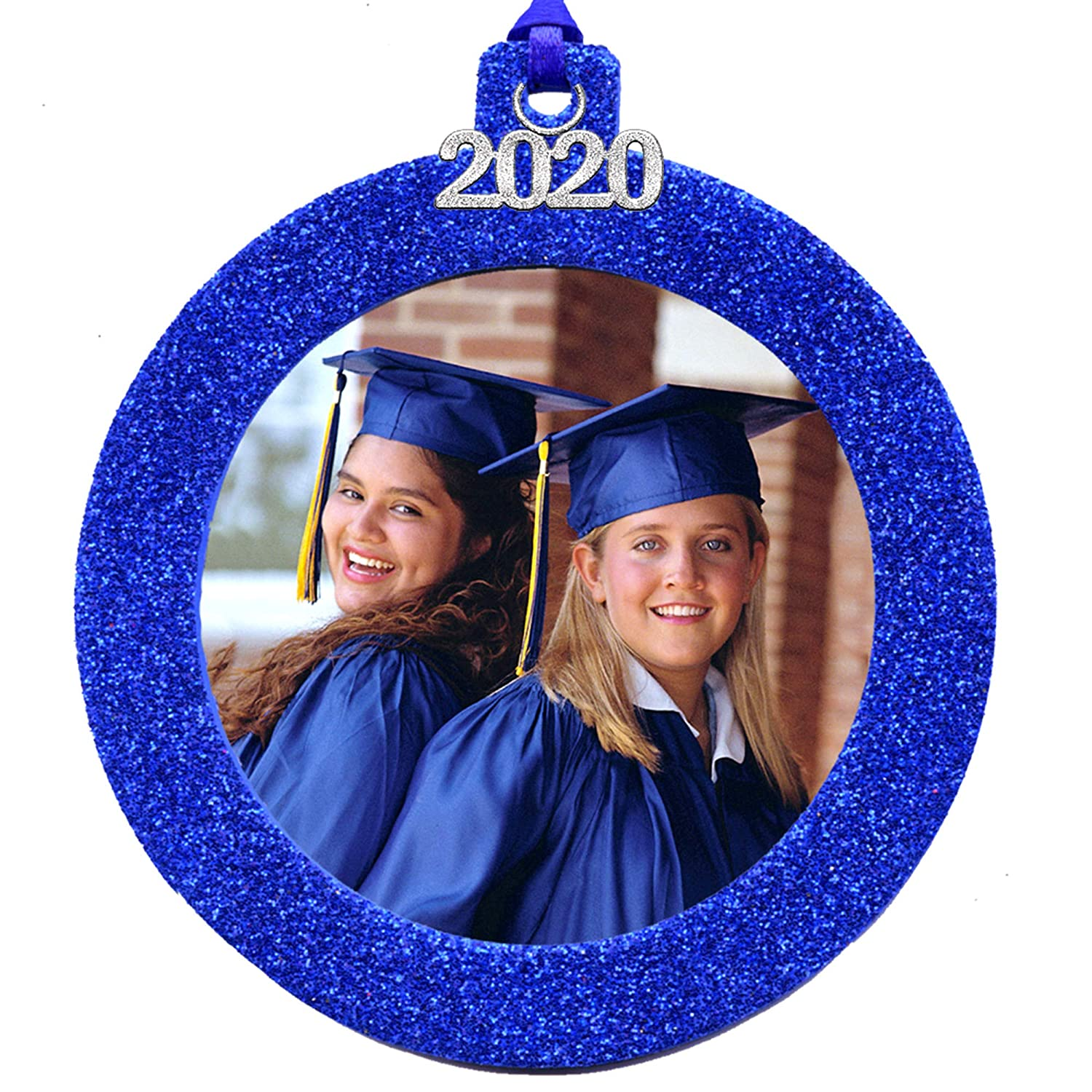 Ou Graduation 2020.2020 Magnetic Glitter Christmas Photo Frame Ornament With Non Glare Photo Protector Round Blue