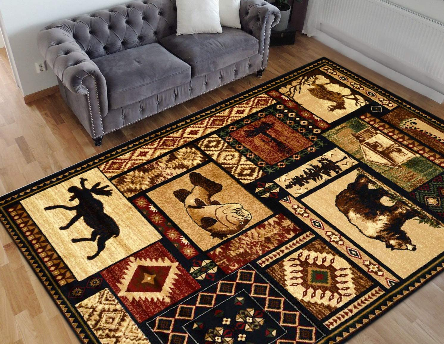 HR- Cabin Collection 906-Nature and Animals Area Rug 7 .5 by 10 .5 Contemporary Geometric Design Fish Moose Bear Lodge-Southwestern Design-Ivory Red Green and Multi