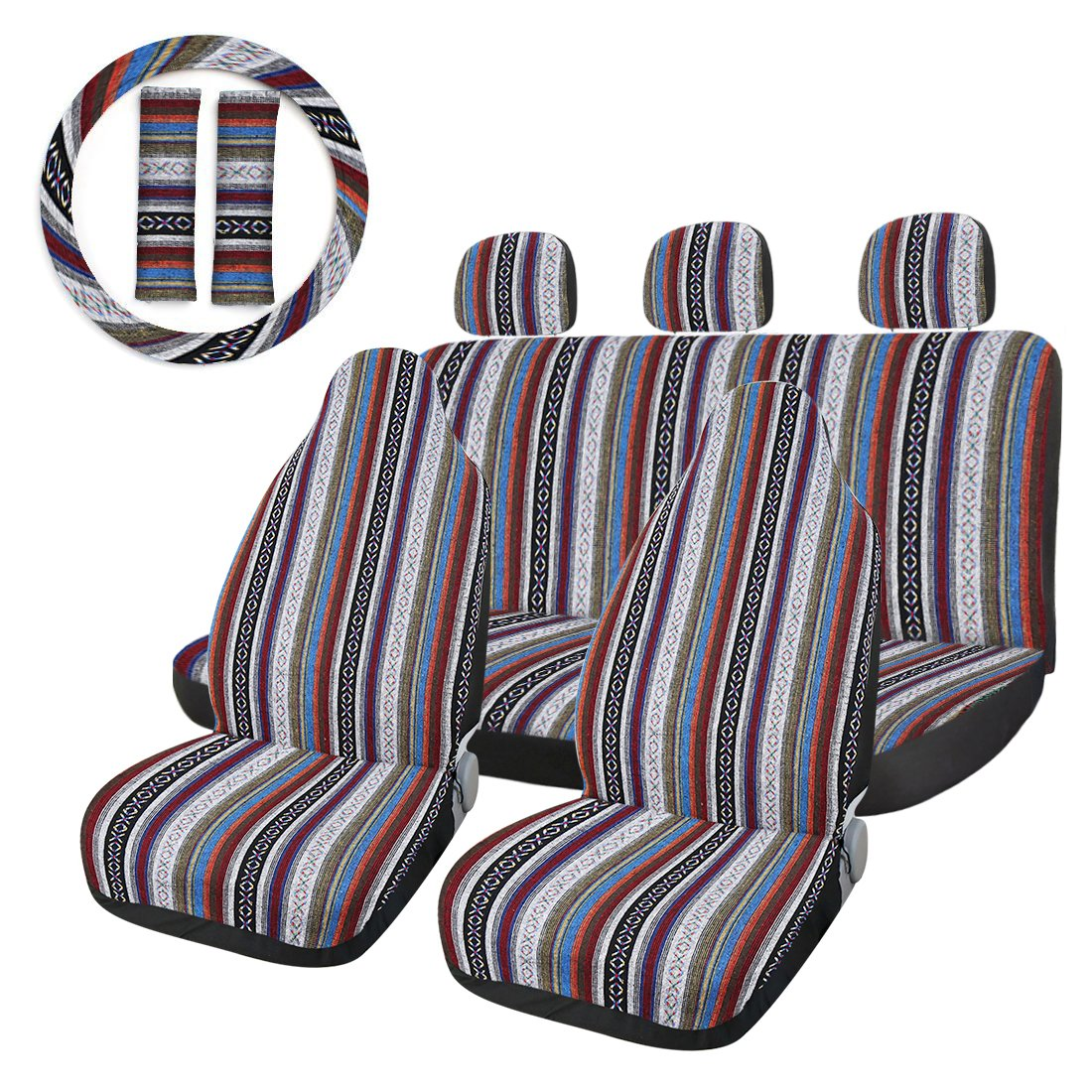 uxcell 10pcs Baja Blanket Ethnic Style Bucket Seat Cover for Auto Automotive