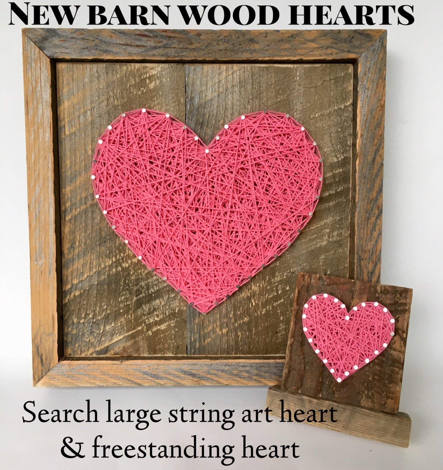 Sweet & small freestanding wooden pink string art heart sign. Perfect for Mother's Day, home accents, Wedding favors, Anniversary gifts, nursery decoration and just because gifts by Nail it Art. by Nail it Art (Image #7)