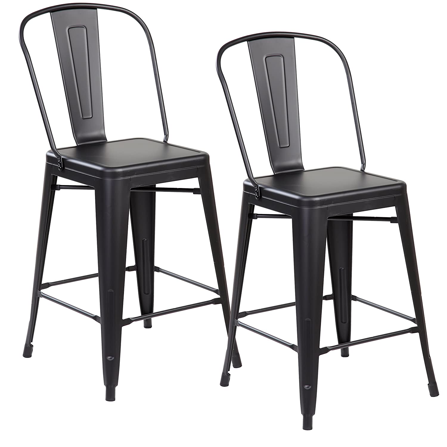 Amazoncom Modern Industrial Metal Counter Height Bar Stools With
