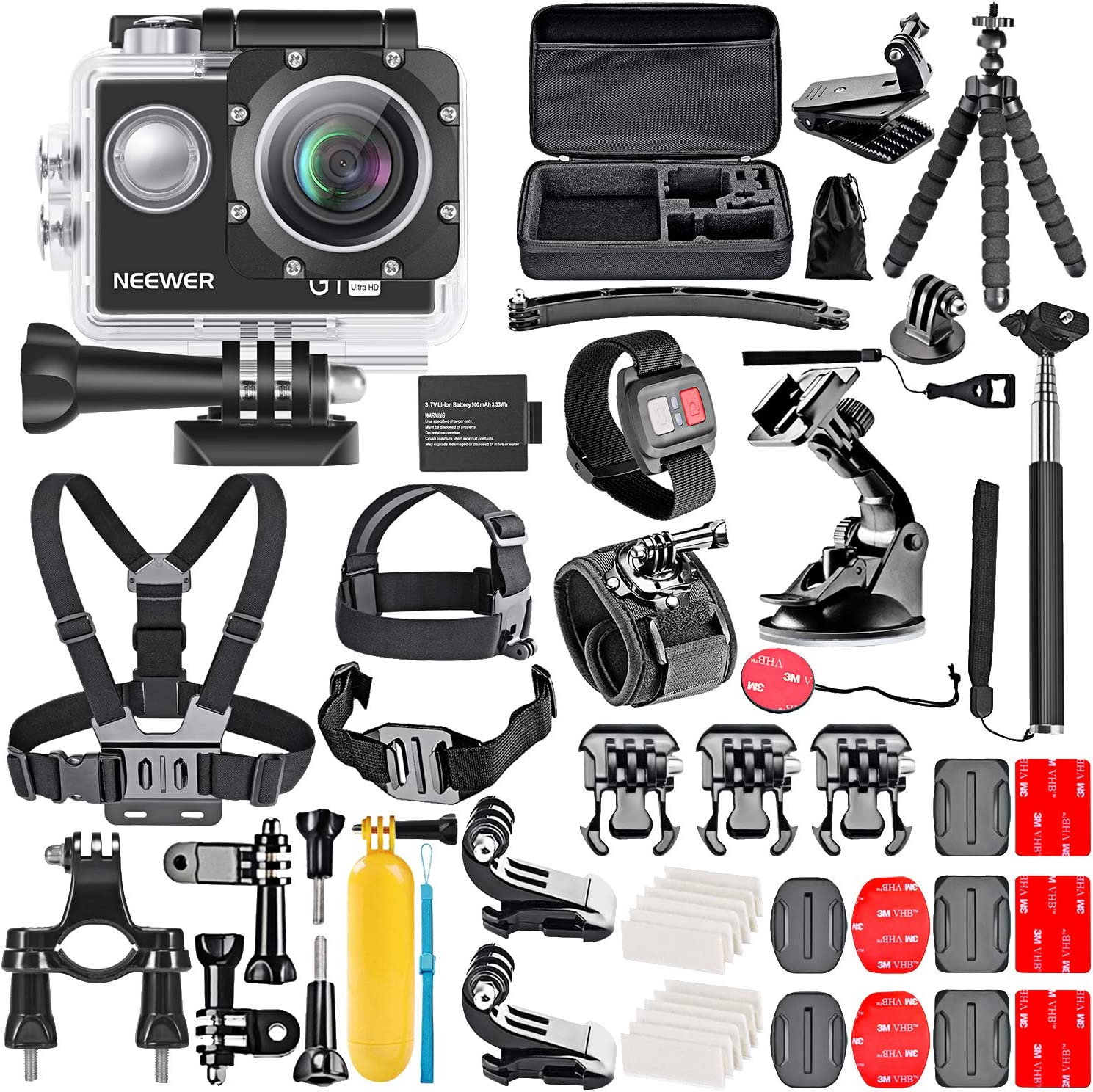 Neewer G1 Ultra HD 4K Action Camera Kit Includes 98 ft Underwater Waterproof Camera 16MP 4K/30FPS 170 Degree Wide Angle WiFi Sports Cam High-tech Sensor with Remote/Battery and 50-in-1 Accessory Kit