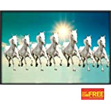 Flashing click 7 Horse Poster and Dust-free Lamination (Paper, Multicolour, 12x18-inch)