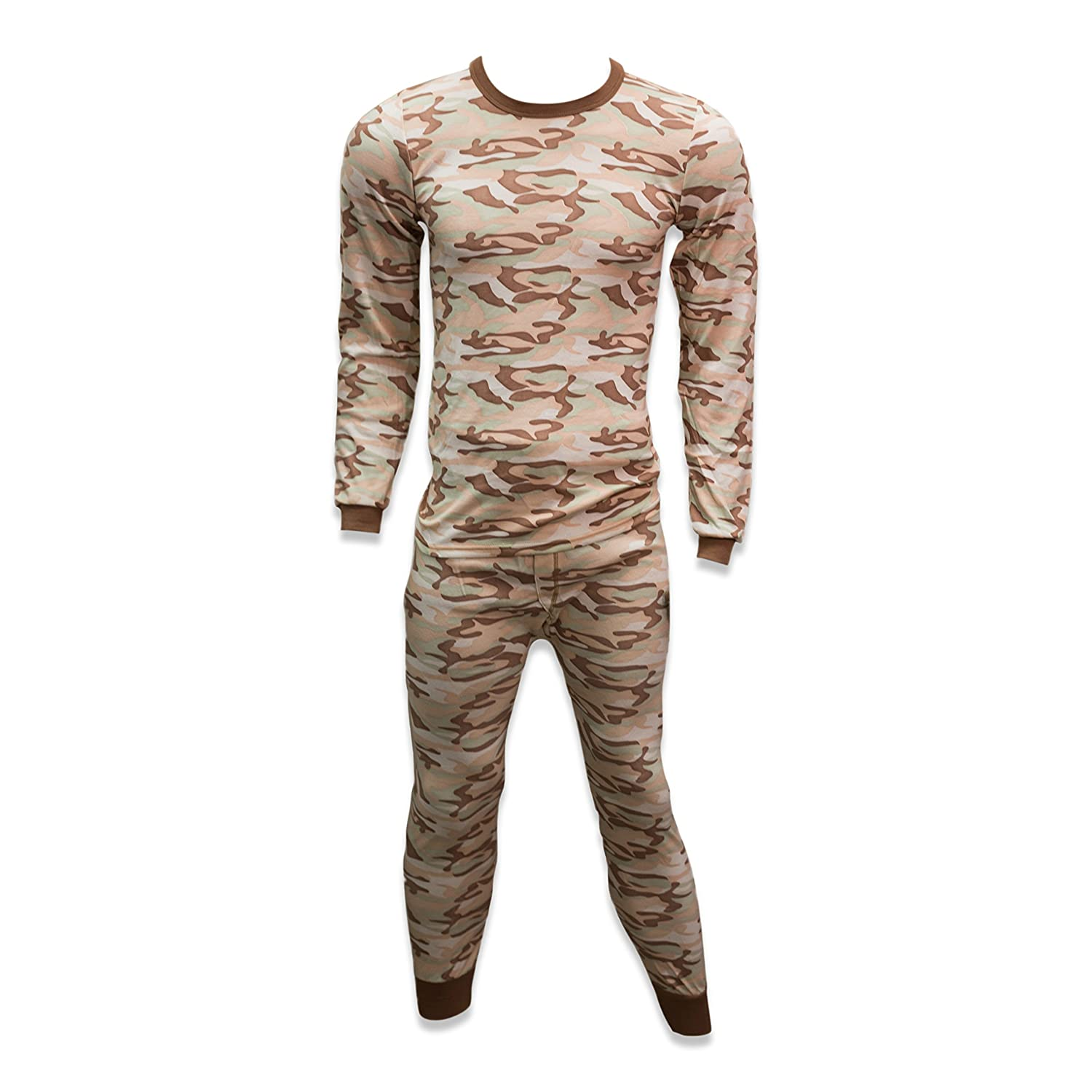 Andrew Scott Mens Fleece Lined Base Layer Long Sleeve Long Pant Thermal Underwear Set CAMOSAND) ASM473X3 /77102C