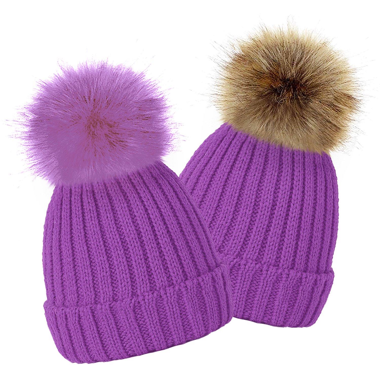 TOSKATOK® Bonnet à Pompon d'hiver de Enfants Filles avec Fourrure Fausse Variable Détachable Pompon