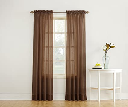 No 918 Erica Crushed Textured Sheer Voile Rod Pocket Curtain Panel Chocolate Brown