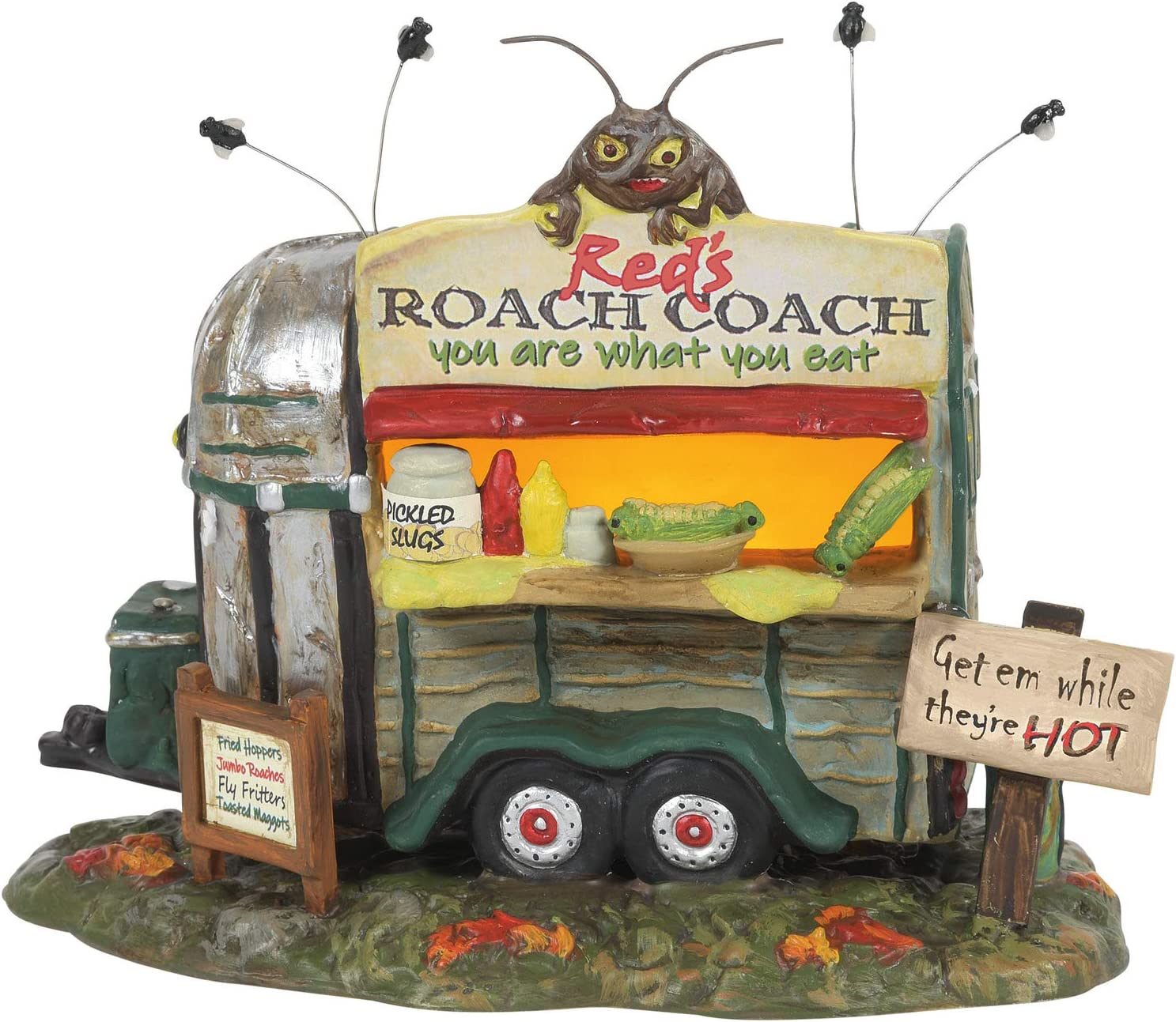 Department 56 Snow Village Halloween Haunted Wheels Food Truck Red's Roach Coach Lit Building, 5.5 Inch, Multicolor