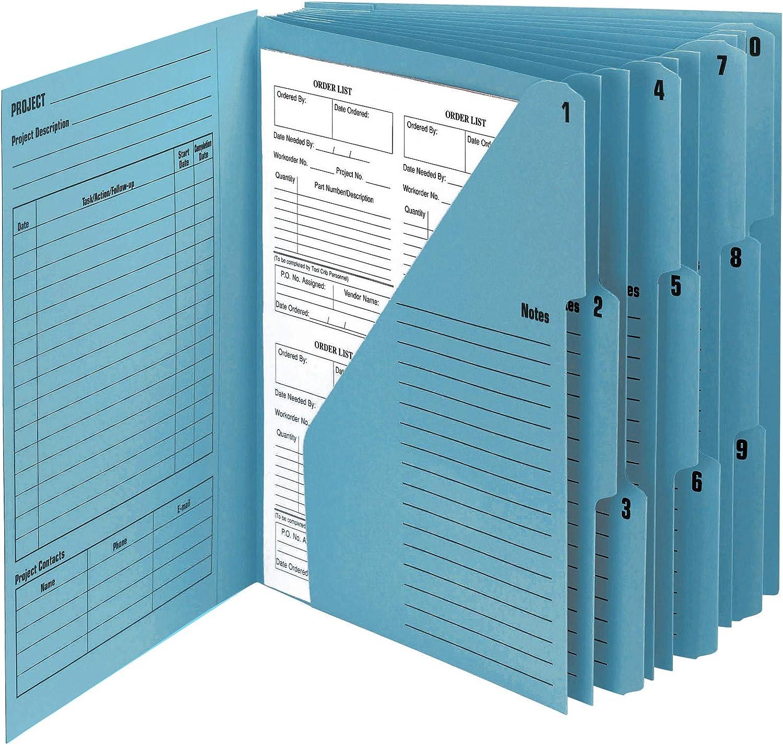 Letter Size Smead 10-Pocket Project Organizer 89200 Navy//Lake Blue