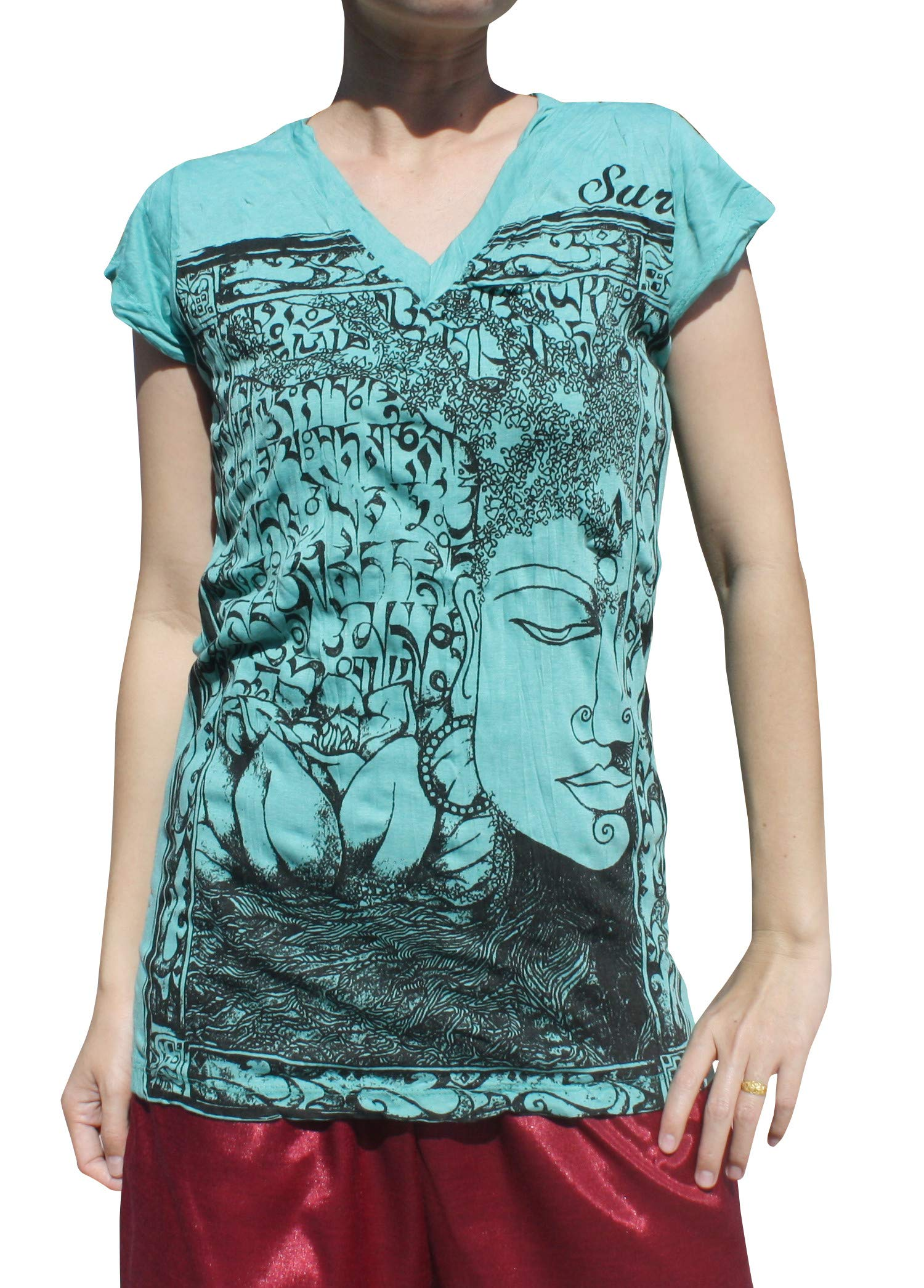 Sure Ladies T-Shirt V-Collar Buddha Lotus and Tree Sanskrit Birth Print, Small, Middle Blue Green by Sure