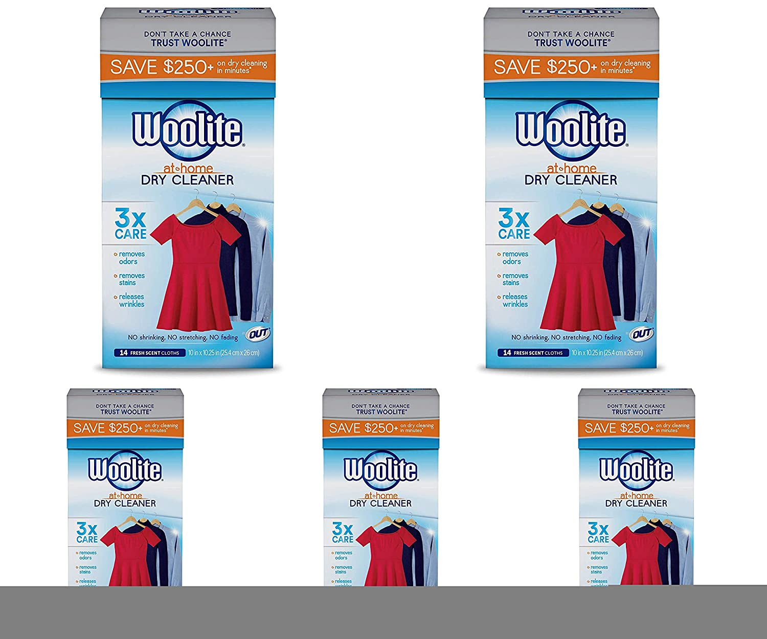 Woolite at Home Dry Cleaner, Fresh Scent, 14 Cloths - 5 Pack