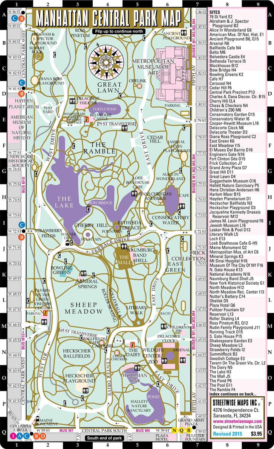 Streetwise Central Park Map - Laminated Pocket Map of Manhattan ...