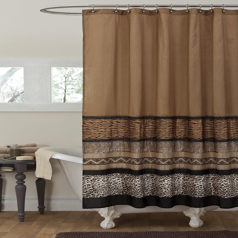 Amazon.com: Lush Decor Tribal Dance Shower Curtain, Brown: Home ...