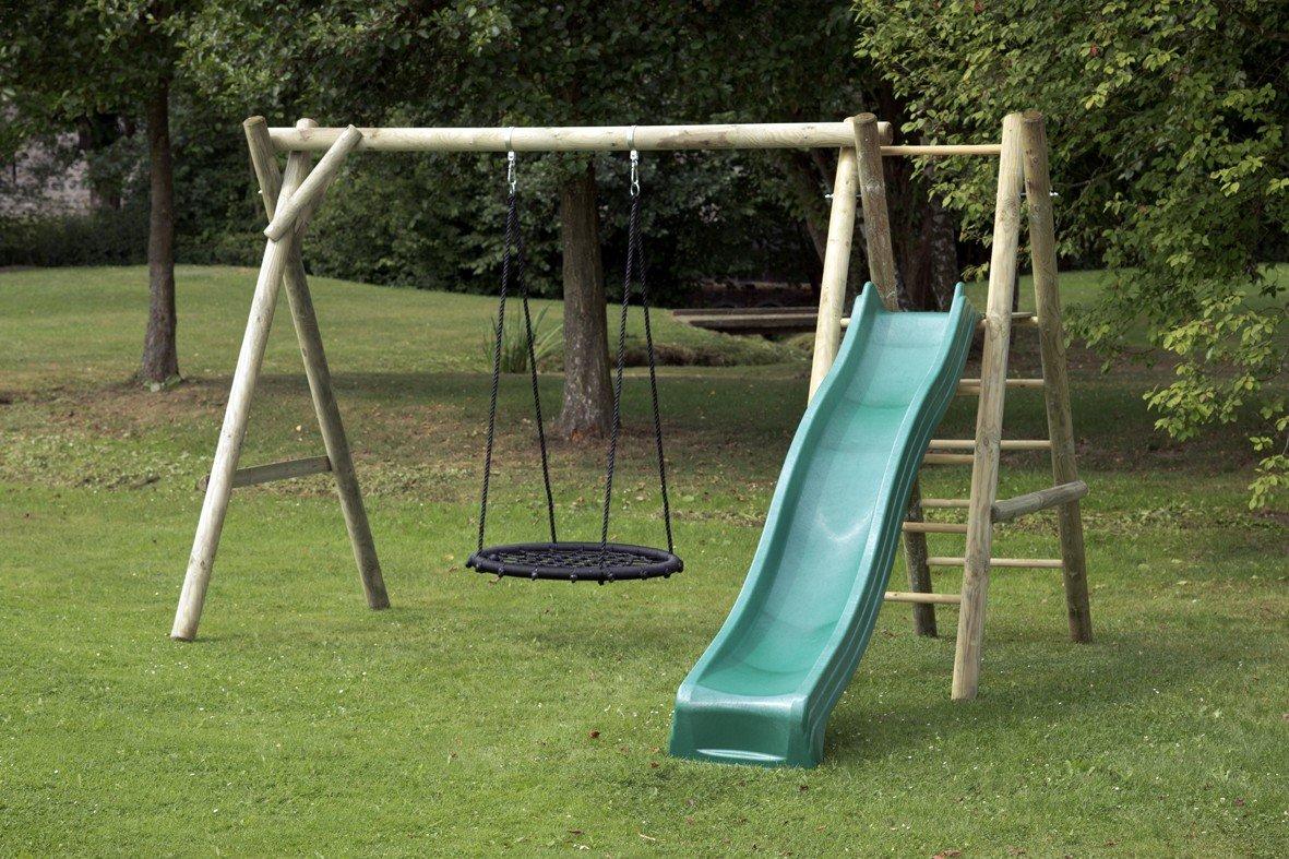 dein-spielplatz Schaukel / Holzschaukel / Kinderschaukel (kdi) mit Podest und Nestschaukel - JUSTIN CLASSIC Ø 10 / 10 cm - mit Rutsche (Ruschenfarbe: grün)