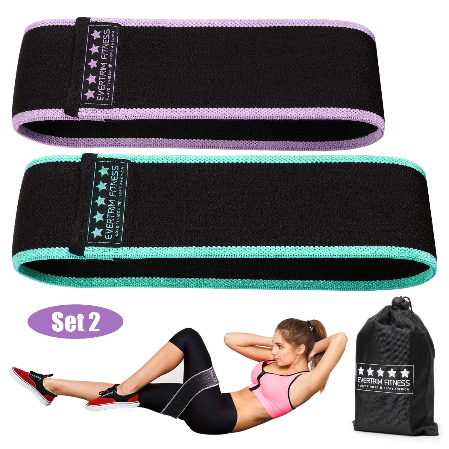 Resistance Bands for Legs and Butt, Exercise Band Booty Bands Hip Bands Wide Workout Bands Sports-Fitness Bands Stretch Resistance Loops Band Anti Slip Elastic (Life-time Warranty)