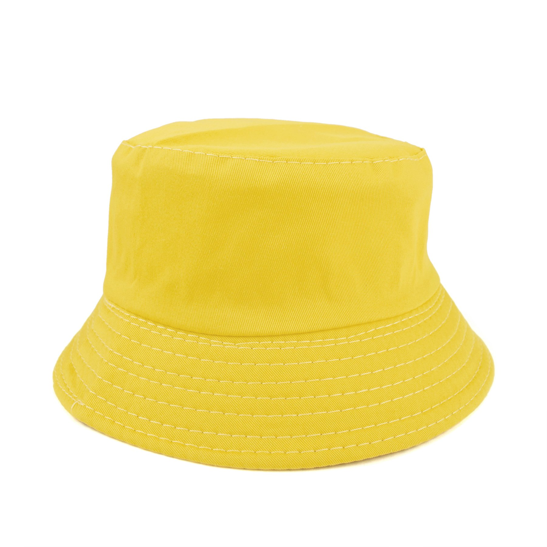 Opromo Kids Cotton Twill Bucket Hat, Summer Outdoor Sun Hat, Sun Protective Hat-Yellow-48 Pcs