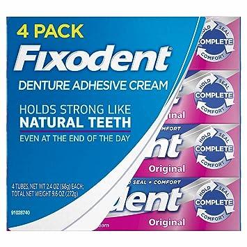 Fixodent Original Denture Adhesive Cream-2 4 oz, 4 pk