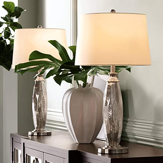 Carol Modern Table Lamps Set of 2 Mercury Glass Column White Drum Shade for  Living Room Family Bedroom Bedside Nightstand - 360 Lighting
