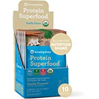 Amazing Grass Protein Superfood: Vegan Protein Powder, All in One Nutrition Shake, Pure Vanilla, 10 Single Serve Packets