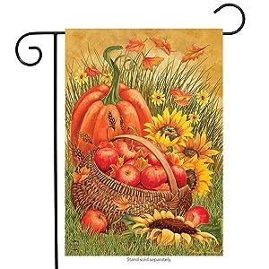 """Briarwood Lane Pumpkin & Apples Autumn Garden Flag Sunflowers Fall 12.5"""" x 18"""""""