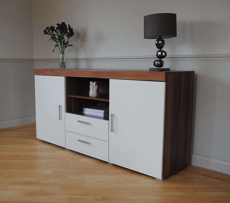 White & Walnut Sydney 2 Metre TV Cabinet & Large Sideboard Unit ...
