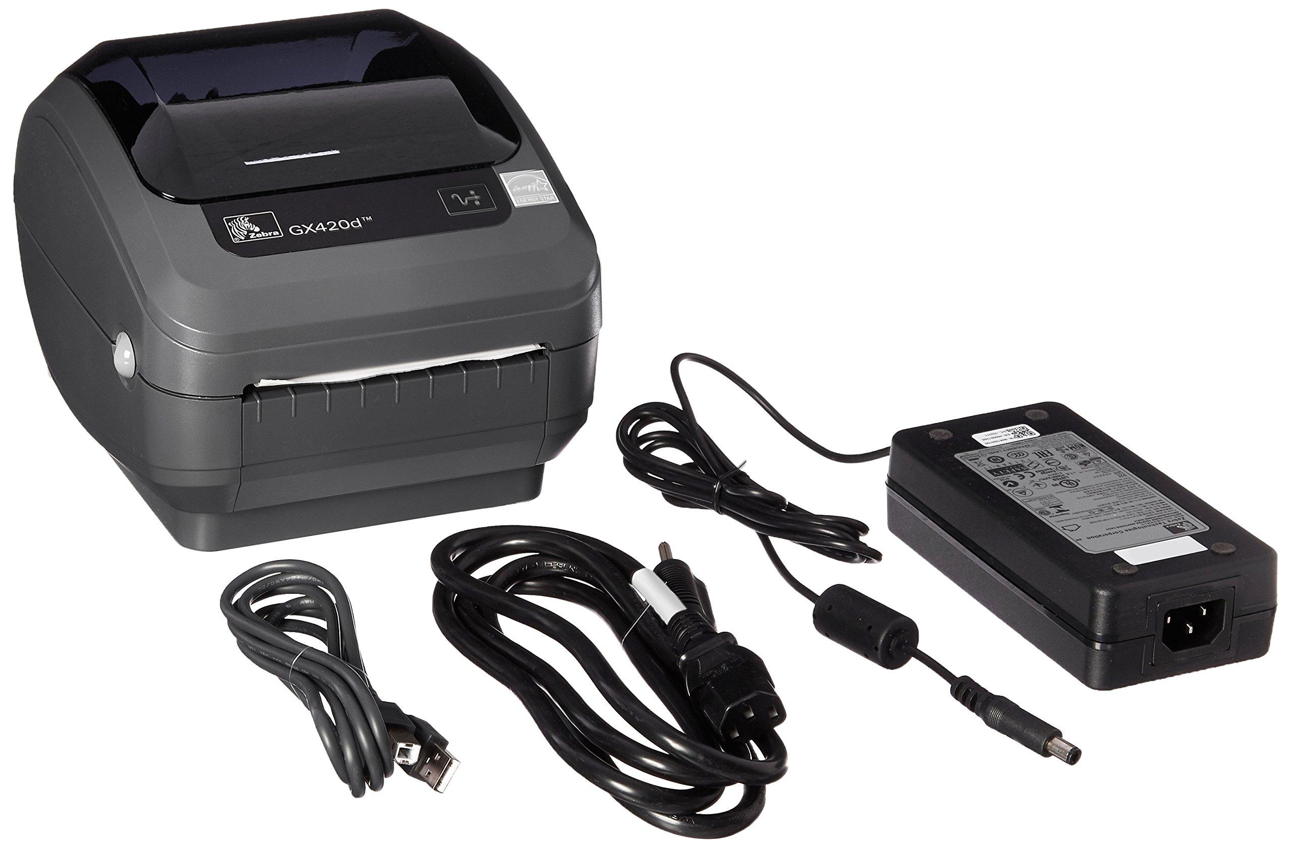 Zebra GX420d Monochrome Desktop Direct Thermal Label Printer with Fast Ethernet Technology, 6 in/s Print Speed, 203 dpi Print Resolution, 4.09'' Print Width, 100-240V AC