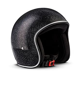 Rebel R2-Flakes – Casco retro de motocicleta scooter Vespa, incluye bolsa de plástico