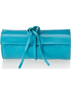 rowallan of scotland martha leather travel jewelry roll teal - Jewelry Roll