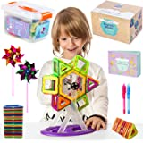 Magnetic Blocks Building Tiles Set For Kids | Educational Toys for Boys & Girls | Magnetic Shapes Set: 102 BPA Free ABS Blocks, in Storage Box, 2 Party Pinwheels, 2 Invisible Ink Pens & Instructions