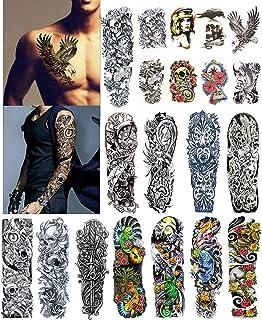 Amazon Com Full Arm Temporary Tattoo Konsait Extra Temporary Tattoo Black Tattoo Body Stickers For Man Women 18 Sheets Beauty