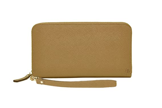 27f116286 Amazon.com: Mighty Purse Wallet Edition (Tan) - Women's Smartphone Charging  Wallet for iPhones and Android Phones - Genuine Leather Wristlet with ...