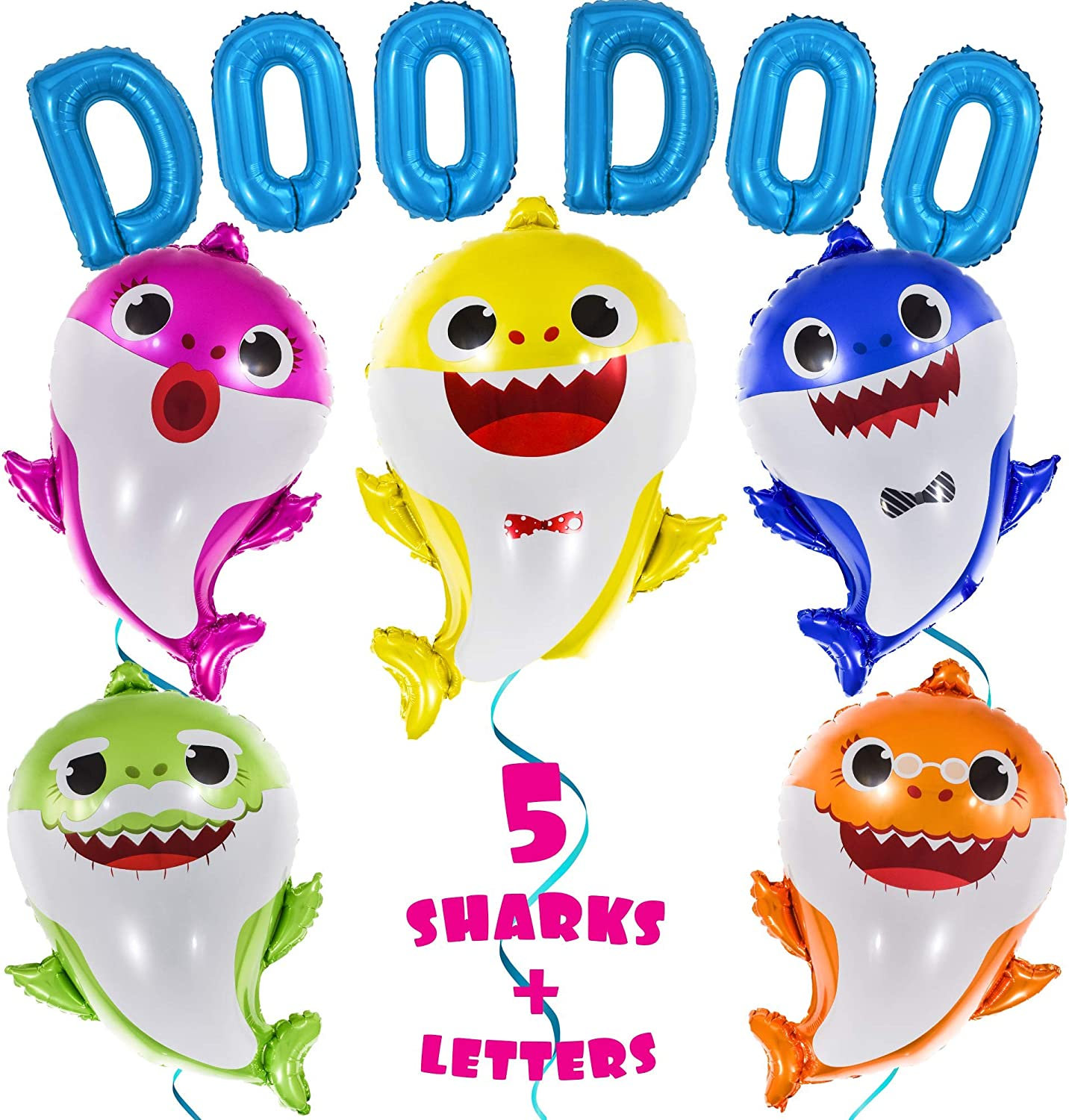 """OMG Party Factory - Huge 25"""" Baby Shark Balloons + 16"""" 'DOO DOO' Letters - Cute Birthday Party Decorations & Supplies Helium Mylar Foil Balloons - All Family Members Included Doo Doo (5pcs + Letters) Globos Para Fiestas"""