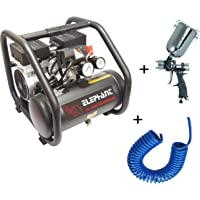Elephant Oil free & Noiseless Air Compressor 6 Ltr. and Painter Plus Spray Gun PS 01 with PU Pipe & Fittings (AC 6L - PS 01)