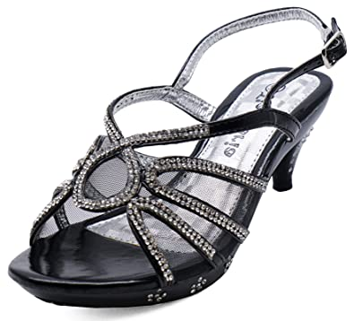 GIRLS CHILDRENS BLACK DRESS-UP DIAMANTE LOW-HEEL SANDALS PARTY SHOES SIZES 10-2
