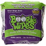 Boogie Wipes Baby Hand and Face Wet Wipe Sensitive Saline Tissue, Grape Scent, 45 Facial Tissues (Pack of 2)