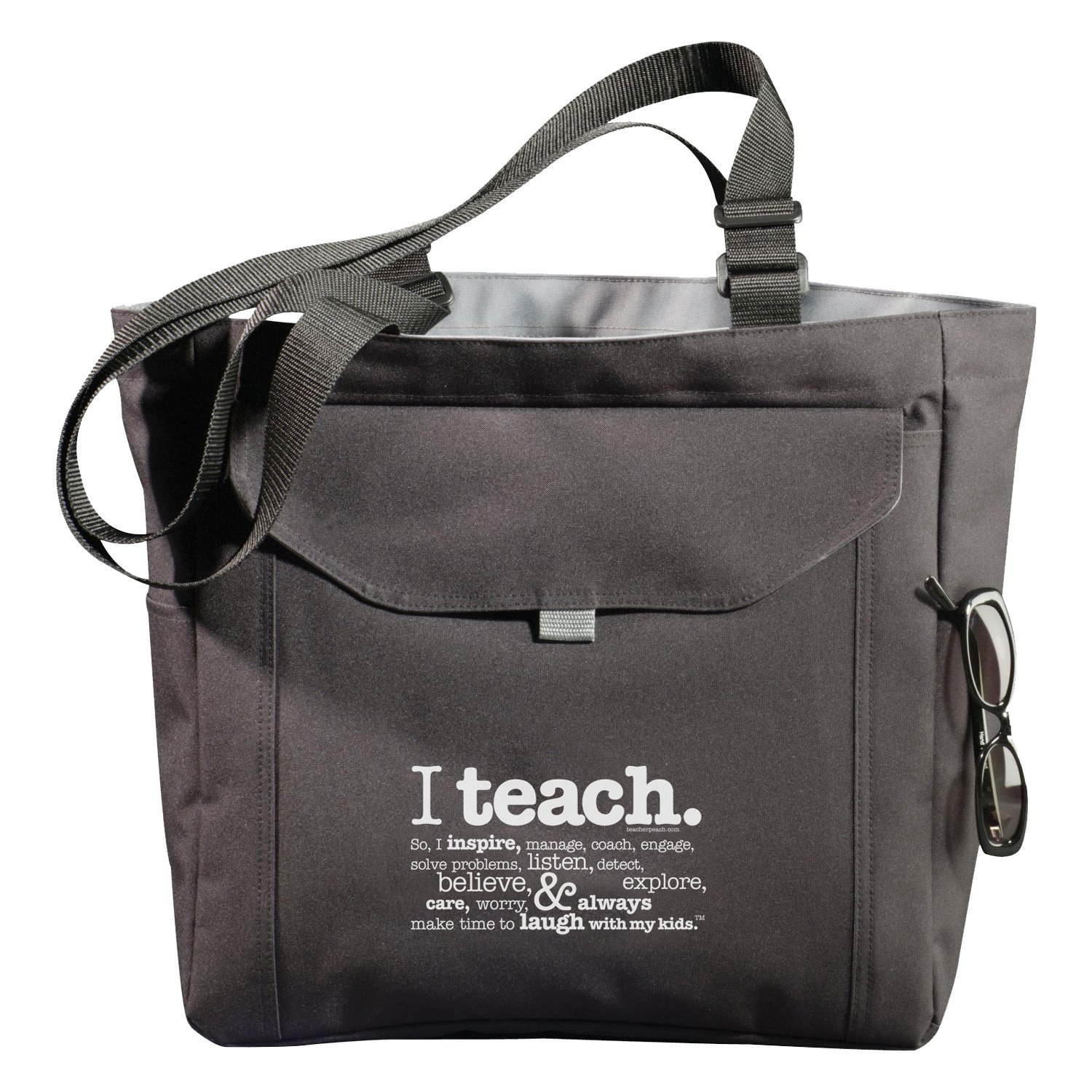 6e535f0fb31 Amazon.com  Teacher Peach Utility Teacher Tote Bag with Pockets, Laptop  Sleeve, and Water Bottle Holder  Clothing