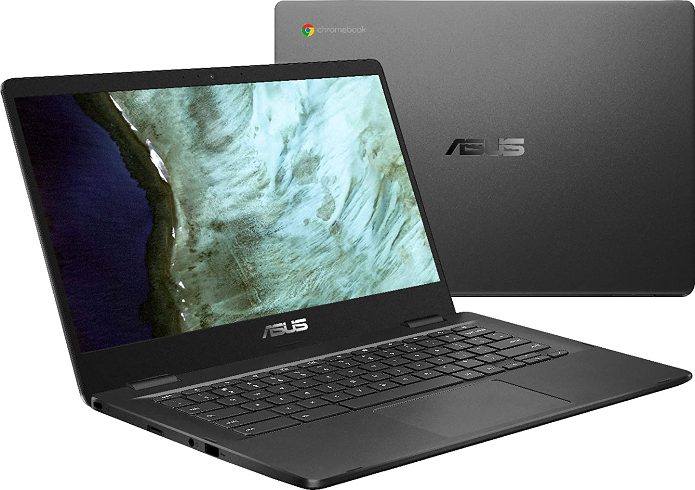 "Asus 14.0"" HD Chromebook Laptop PC, Intel Dual Core Celeron N3350 Processor, 4GB RAM, 32GB eMMC, Chrome OS, Grey"