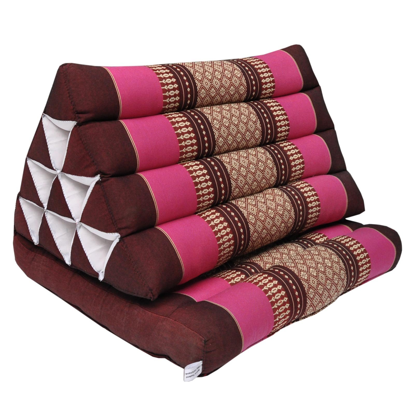 Thai triangle cushion with 1 folding seat, relaxation, beach, pool, meditation, yoga Bordeaux/Pink (81401) by Wilai GmbH