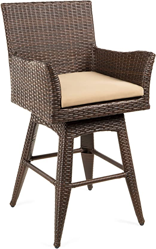 Amazon Com Best Choice Products Outdoor All Weather Pe Wicker 360 Degree Counter Height Swivel Bar Stool Patio Furniture For Deck Pool W Plush Cushion Backrest Ergonomic Armrests And Footrest Garden Outdoor