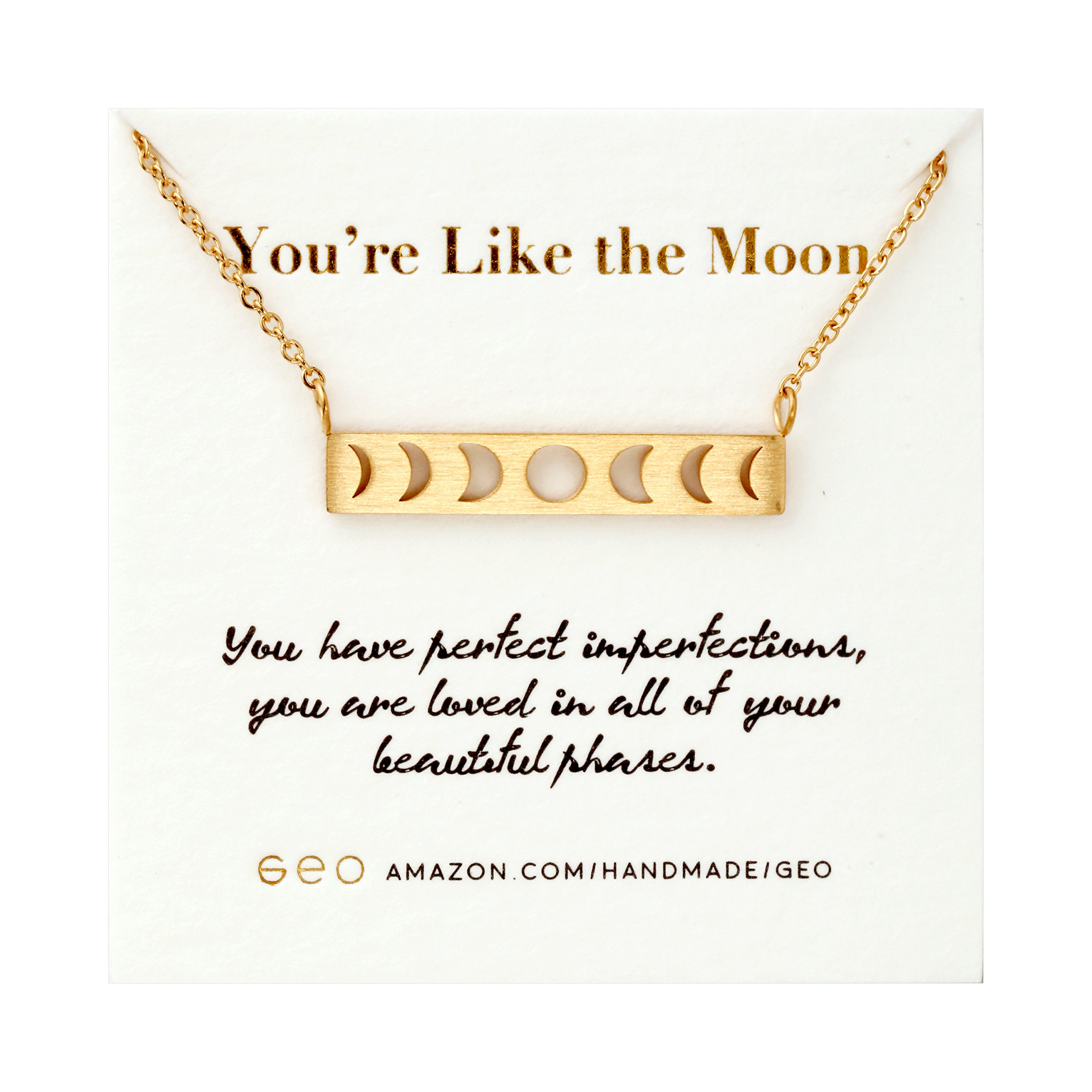 GeoMinimalist Moon Necklace Moon Phase Necklace Inspirational Graduation Gifts For Her 2018 (Gold)