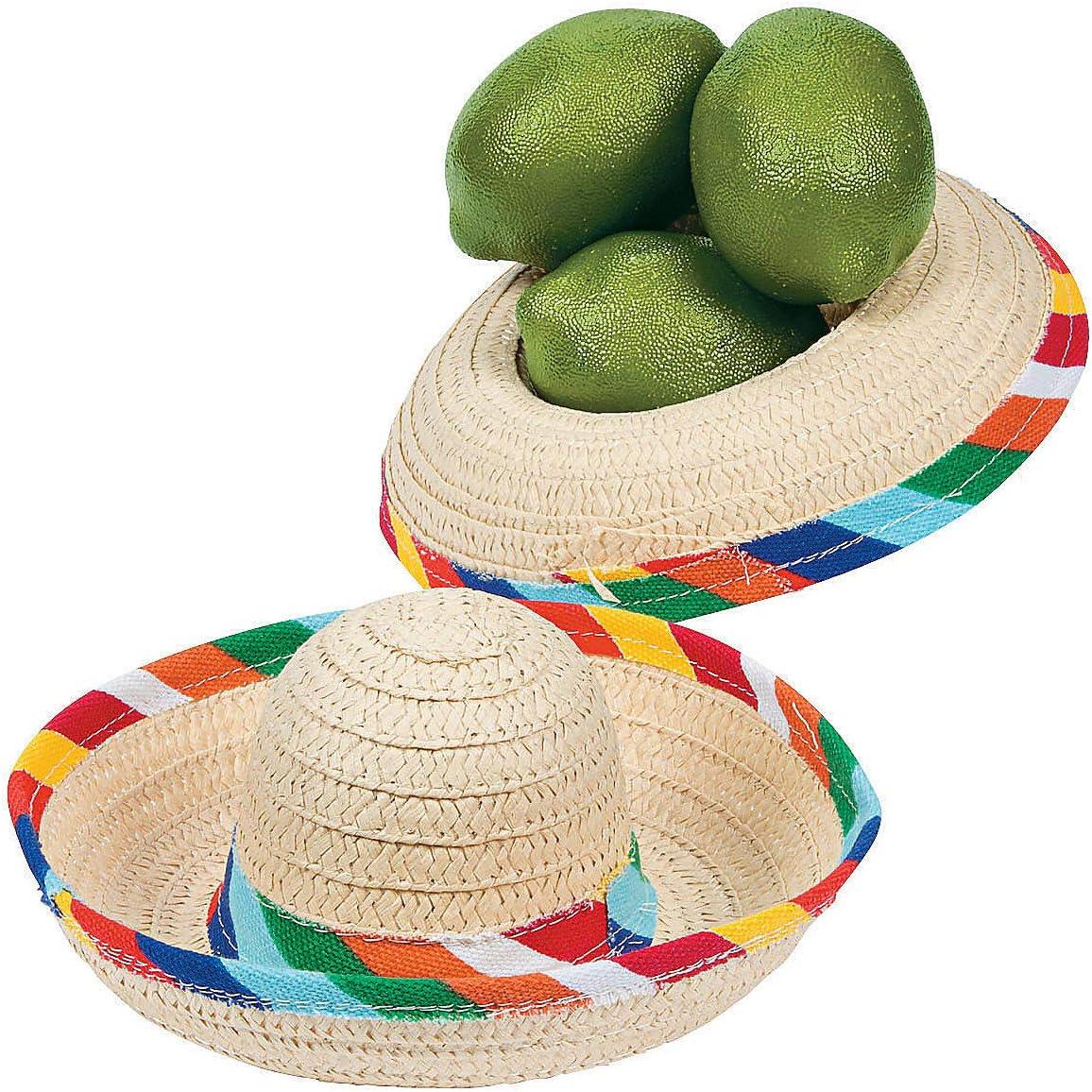 Fun Express - Mini Tabletop Sombrero for Cinco de Mayo - Party Decor - General Decor - Centerpieces - Cinco de Mayo - 12 Pieces