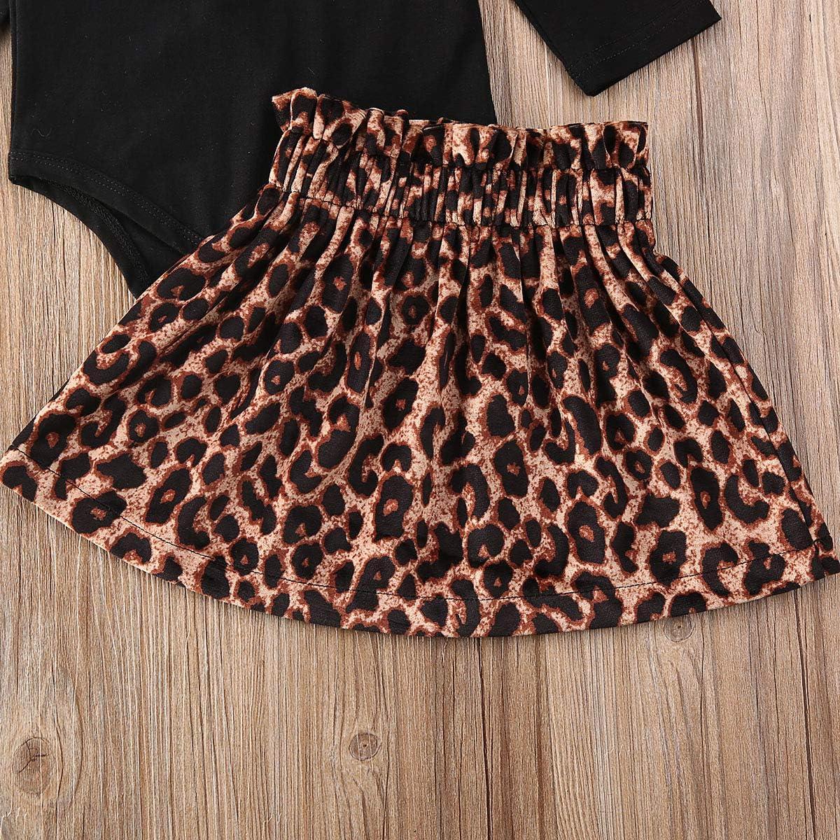 Infant Baby M/ädchen Kleidung R/üschen Langarm Strampler Bodysuit Tops Leopard Tutu Rock Outfits Set 0-24 Monate