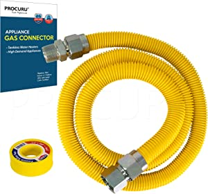 """PROCURU 1"""" OD x 60"""" Long x 3/4"""" MIP x 3/4"""" FIP Gas Flex Line Connector Kit, WeatheProof Max-Flow High Capacity Stainless Steel with SafeGuard Coating for Tankless Water Heater"""