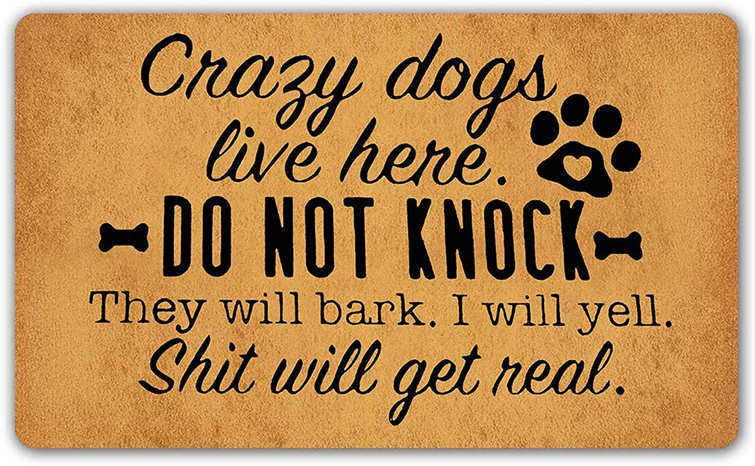 "LuckyYoly Crazy Dogs Live Here Welcome Door Mat Rubber Backing Non Slip Entry Rug Funny Doormat for Front Door Garden Kitchen Bedroom Decor 23.6""x15.7"""