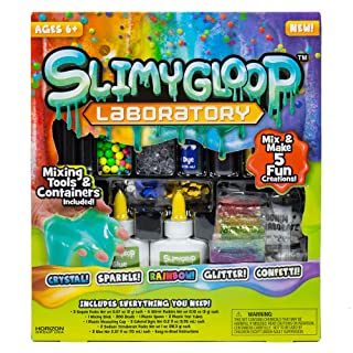 SLIMYGLOOP Laboratory by Horizon Group USA - Mix & Create 5 DIY Fun Gooey, Stretchy, Squishy, Putty Creations by Adding Sparkle, Color, Glitter, Beads, Confetti& More