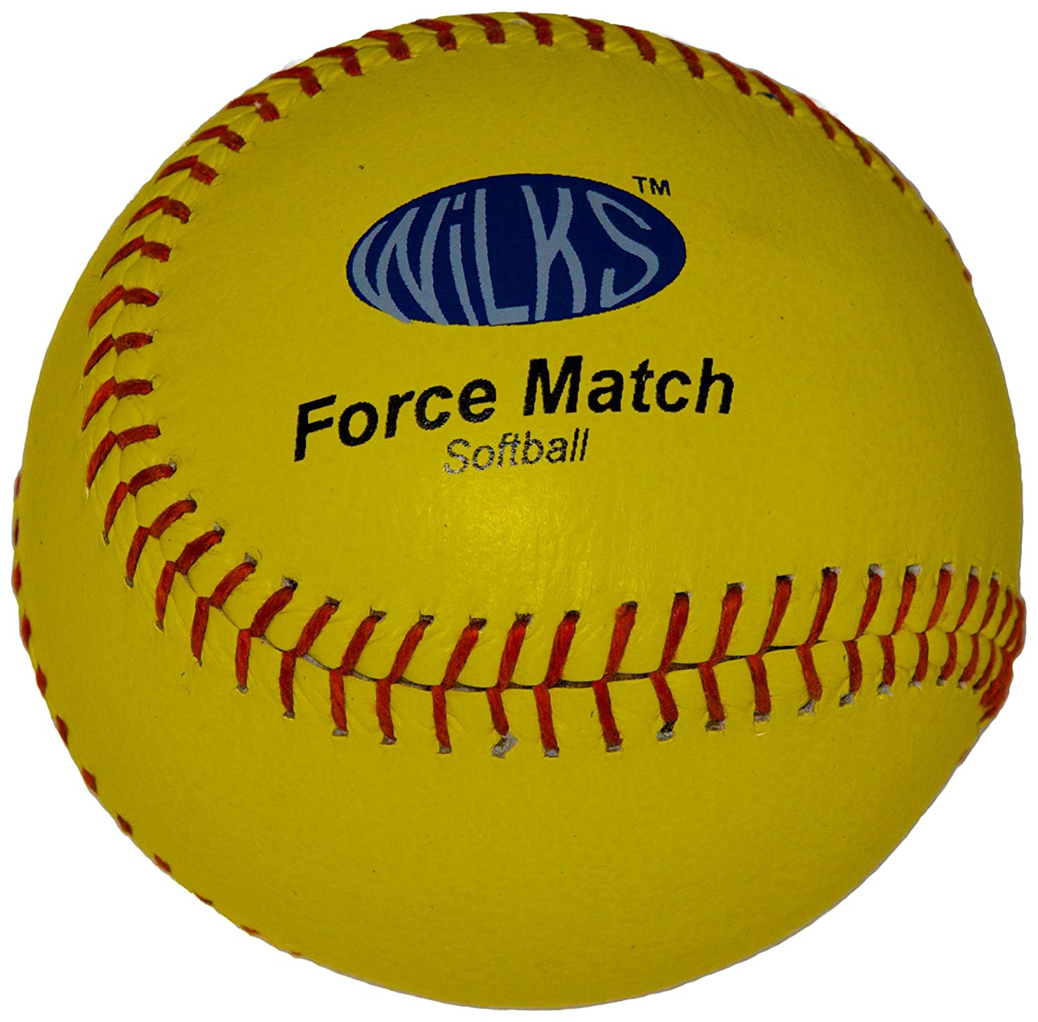 Wilks Force Match - Pelota de cuero de sófbol (11,5 cm), amarillo
