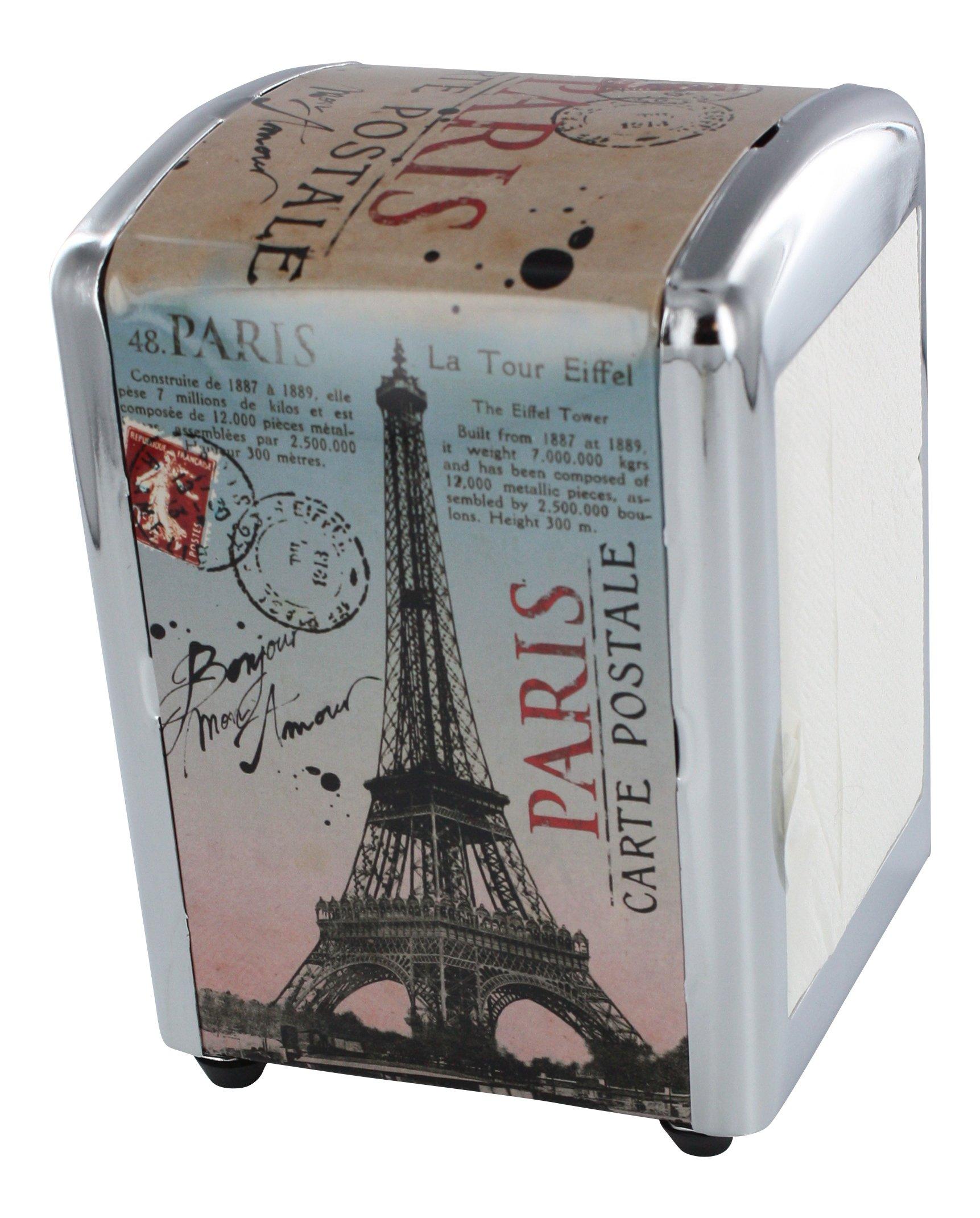 Napkin Dispenser, French vintage design ''Paris Carte postale'' - Diner Style - H 6'' X L 4'' X W 4'' - Plus a Refill Bag