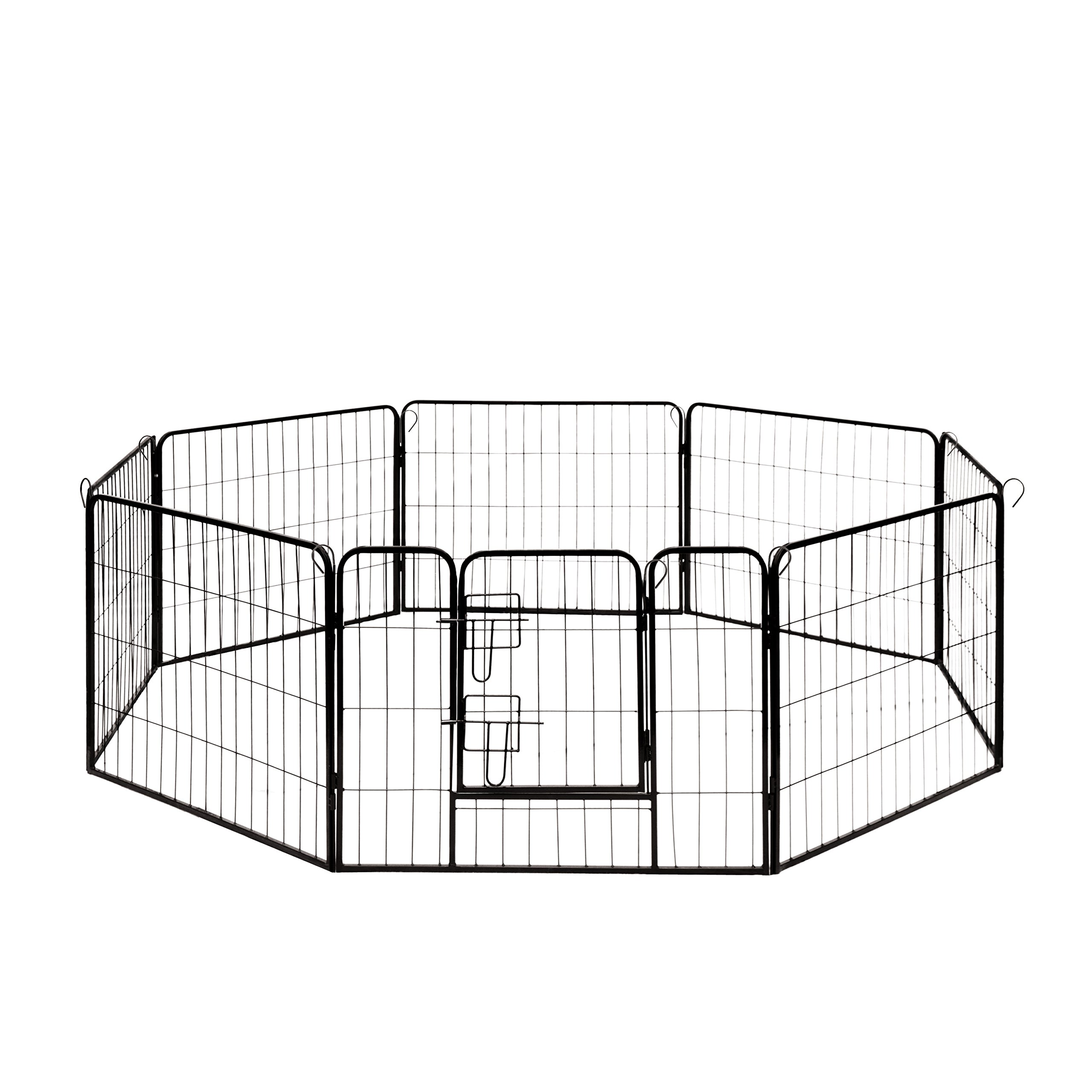 ALEKO DK24X32 Heavy Duty Pet Playpen Dog Kennel Pen Exercise Cage Fence 8 Panel 24 x 32 Inches Black