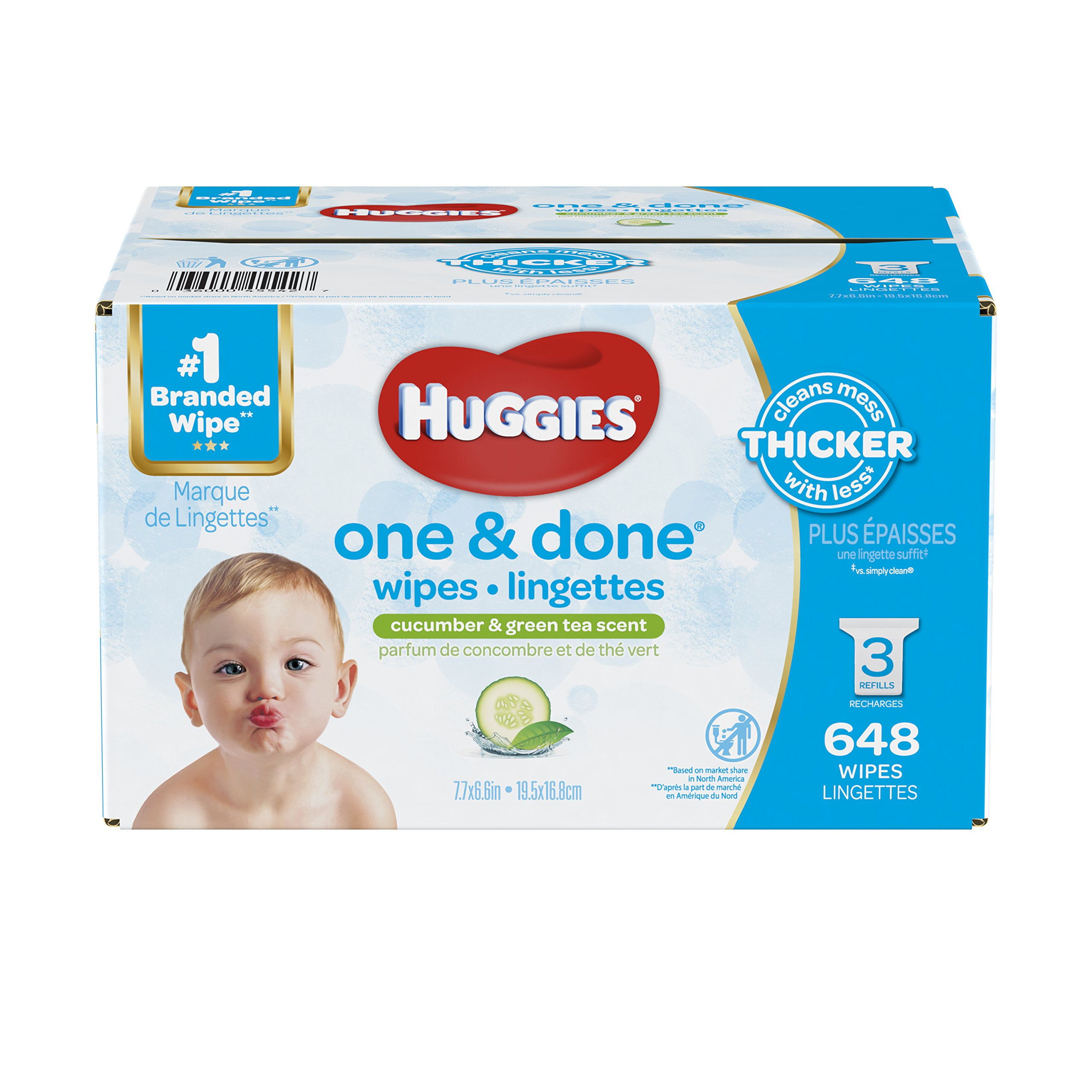 HUGGIES One & Done Scented Baby Wipes, Hypoallergenic, 3 Refill Packs, 648 Count Total by HUGGIES