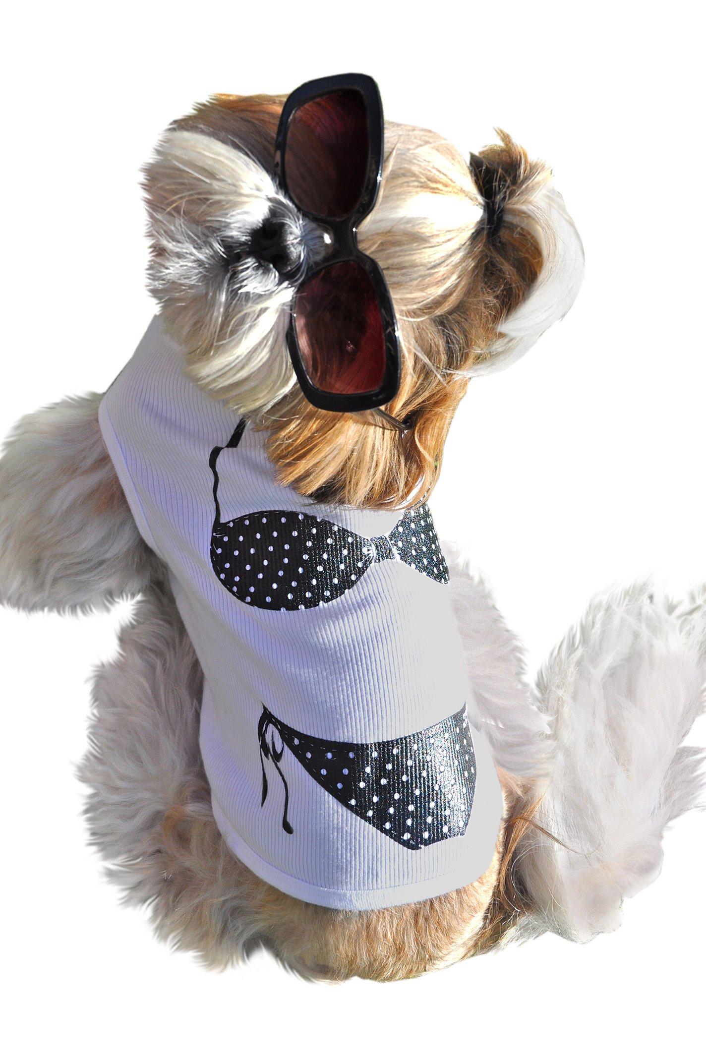 Ruff Ruff and Meow Dog Tank Top, Bikini, White, Small