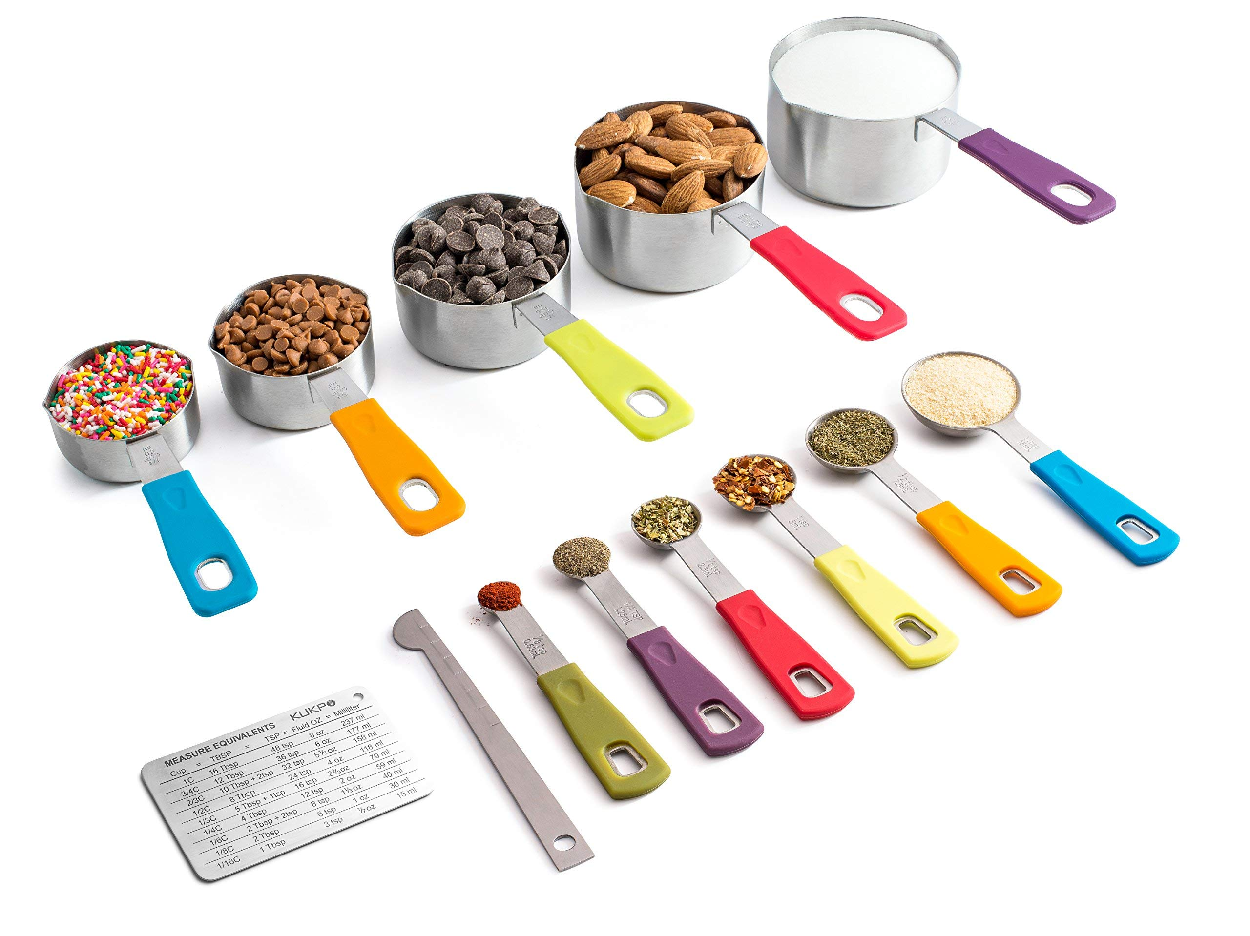 KUKPO Measuring Cups and Spoons Set- Superior Quality 13- Piece Measuring Set For Baking w/ Non-Slip Colorful Silicone Handles & Easy To Pour Spouts- Perfect For Liquid & Dry Ingredients- Great Gift by KUKPO